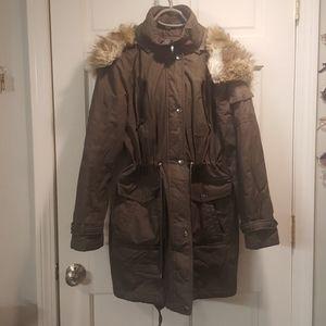 Long Winter coat with faux fur hood